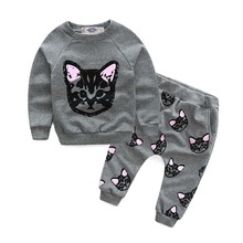 2016 hello kitty girls clothing sets kids clothes little cat baby girl and boy long sleeve cotton set CCS358