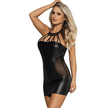 Buy Sexy Lingerie Women Pu leather Plus Size Babydoll Lingerie Sexy Porno Erotic Costumes Latex Backless Erotic Dress Sex Wear