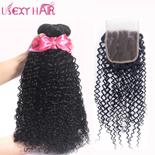 USEXY HAIR Curly Brazilian Human Hair With Closure 4*4 Swiss Lace Natural Color Can Be Dyed And Bleached Non Remy Hair Weave(China)