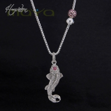 Thomas Style Pink Fish Bead Pendant Necklace, European Glamour Fine Jewelry for Women TS-N412