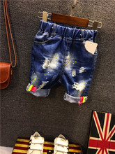 2016 Summer Denim Shorts for Children Boy's Jeans Shorts Baby Fashion Washing Blue Painting Printing Vintage hole jeans 2-7years