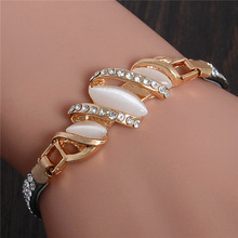 Free Shipping Charm Bracelet Leather Band with Austrian Crystal Gold Filled Opal Bracelet for Women TL239
