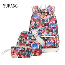 YUFANG 3 Pcs/Set Backpack Women Owl Printing Backpack Canvas Bookbags School Backpacks Bags For Teenage girls Bagpack Backbag(China)
