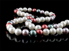 Sold Per 47 Inch Round multi-colored Grade AA 8-9mm South Sea Shell Necklace