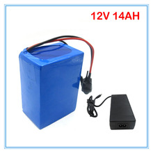 Wholesale 2pcs/lot lithium battery 12V 14AH with 12.6V 3A Charger for LED Light / Bicycle battery Scooter battery 180W(China)