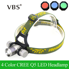 4 Color Headlamp 1000 Lumens CREE Q5 LED Headlight Head lamp Zoom LED Head Light Lamp with Red / Green / Blue Diffuser