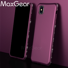 MaxGear For iPhone X Case Purple Bling Cover Matte Soft Case For iPhone X Diamond Frame Phone Case Cover Shell(China)