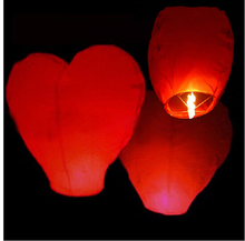 10pcs/lot Red Heart Sky Lanterns Chinese Paper Sky Candle Fire Balloons for Wedding / Anniversary / Party / Valentine