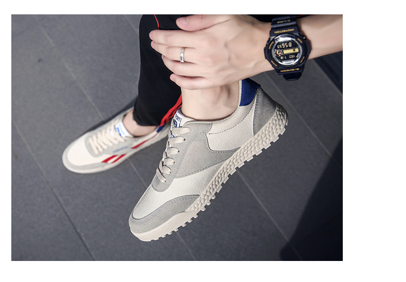 New Fashion Casual Flat Vulcanize Shoes For Men Breathable Lace-up Shoes Footwear Striped Shoes Flax And Cattle Cross Stitching 27 Online shopping Bangladesh