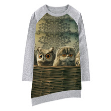 girls dress two The owl Long sleeve new Girl clothing Fashion Kids Baby Dresses bibs Print Children Dress Designer baby 2018