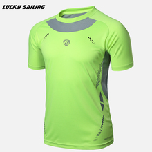 LUCKY SAILING 2017 New Sport running Fitness Soccer Jerseys Shirt Men Sport t shirt fit short sleeve body building tops clothing(China)