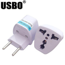 Universal white UK US AU to EU AC Power Plug Brazil AC Power Plug High Quality Adapter Travel Converter Plug(China)