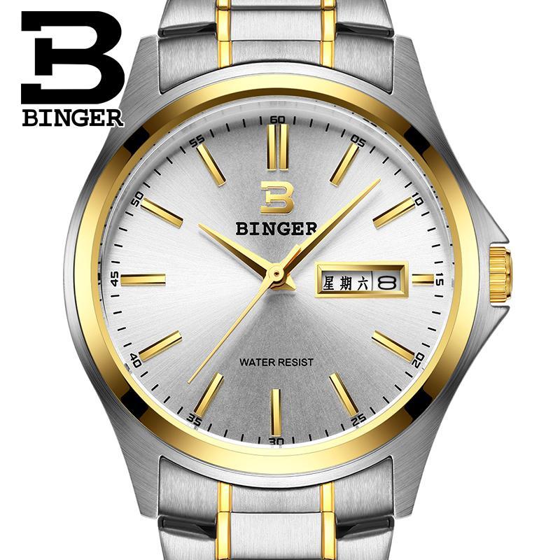 2017 Switzerland luxury mens watch BINGER brand quartz full stainless clock Waterproof Complete Calendar Guarantee B3052B9<br>