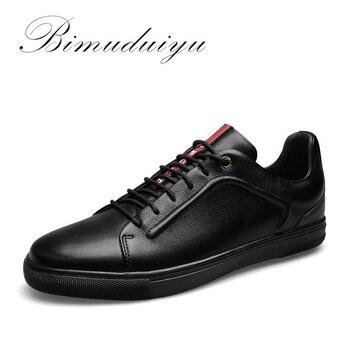 BIMUDUIYU Nouveau Quatre Saisons Hommes de Dentelle-up Occasionnels Chaussures de Haute Qualité en cuir Véritable Chaussures De Mode Respirant Marche Chaussures Plates