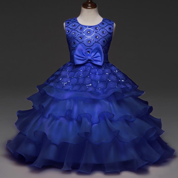 Sequin Diamond Flower Girls Dress Bow Tie Party Wedding Pageant Princess Birthday Layer Dresses Children Clothes 3 to 11 Years<br>