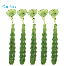 Bobing Hot sale 5pcs/lot 50mm Fishing Soft Lure Bait Fish Bass Perch Worm Fishing Accessory Tackle tool Spinner Spinners
