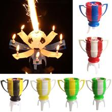 New 1*Candle Holder Football Cup Candle Holder Automatic Flowering Music Candle Bracket Birthday Gift