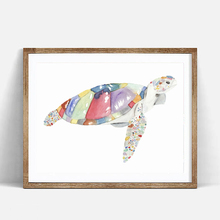 Watercolor Sea Turtle Art Print Poster, Wall Art Picture for Children's Room Decoration, Home Decor Painting on Canvas