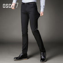 OSCN7 Black Stretch Dress Pants Slim Fit Leisure Perfume Masculine Brand Clothing Pantalon Homme Classique Plus Size Trousers