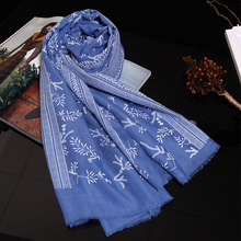 Genovega Spring Women Scarf Print Embroidery Scarves And Shawl High Quality Floral Viscose Blue Scarf Female Lady Foulard Femme(China)