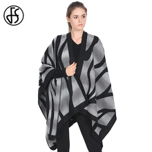 FS British Style Poncho Feminino Winter Warm Cashmere Cardigan Capes Irregular Women Oversize Coat Pashmina Thicken Scarves(China)