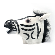 Top Grand Halloween Mask Latex Horse Head Interesting Funny Party Masquerade Masks Silicone Zebra Cos Novelty Mask #A26(China)