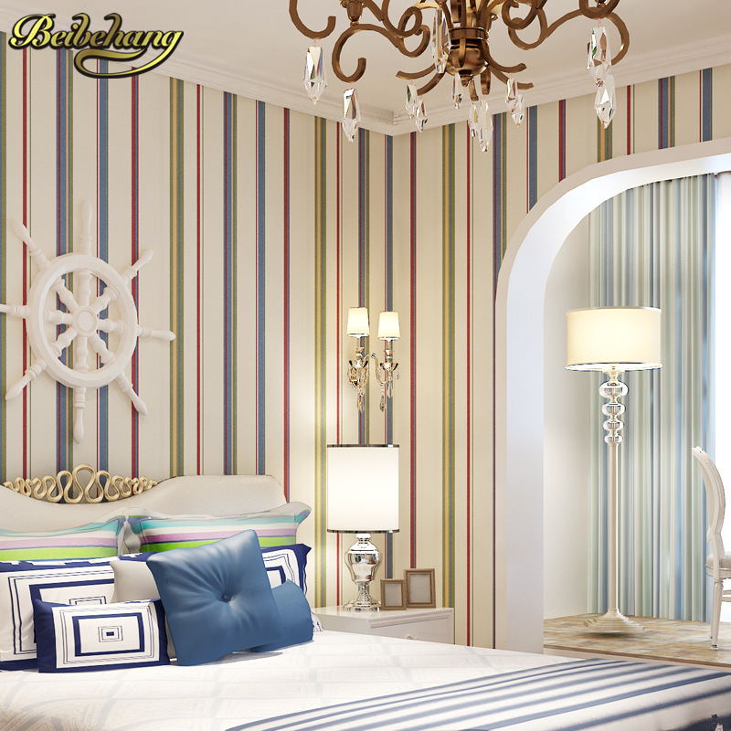 beibehang papel de parede Great wall non-woven black white silver gold glitter striped wallpaper,wall paper roll,papel de parede<br>