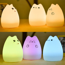 USB Rechargeable LED Colorful Night Light Cat Silicone Soft Cartoon Baby Nursery Lamp for Children Gift ALI88(China)