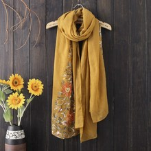 QPFJQD Vintage Women'S Cotton Linen Scarf China National Wind Female Shawl Flower Embroidery Scarves For Autumn Winter(China)