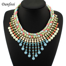 Fashion Jewelry Colorized String Knit Chain Lots Acryl Resin Beads Pendant Necklace For Women Dress N1642