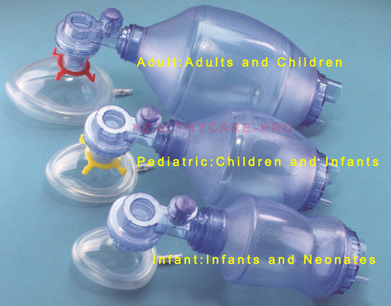 PVC Disposable Manual Resuscitator with Oxygen Tubing Reservoir Bag Face mask Case For Adult or Pediatric<br>
