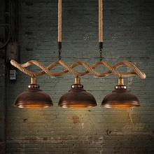 Edison Loft Style Hemp Rope Droplight Industrial Vintage Pendant Light Fixtures for Kitchen Table Bar Hanging Lamp Suspension