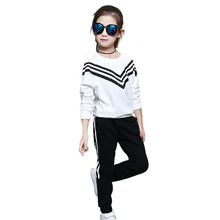 Tribros  Autumn Winter  Baby Striped 2pcs/set Kids Cotton Printed School Tracksuit Uniform Sport Suit Girls Clothing Sets
