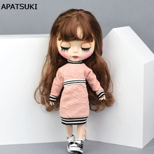 Pink High Collar Fleece Clothes For Blythe Doll 1:6 Fashion Top Blouse for Barbie Dolls Outfits For Momoko 1/6 Doll(China)