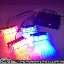 CIRON 4x3 12 LEDs Flash Emergency Strobe Light 12V LED Car Front Grille Deck Strobe Styling 3 Mode Police Dash Lights Red&Blue