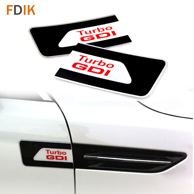 Racing Sport Car Emblem sticker logo Door Handle Decal Kit TURBO Red