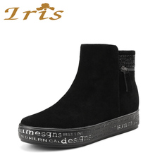 IRIS Winter Ankle Warm Wool Fur Boots Black Genuine Leather Snow Boots Women Crystal Dec Top Quality Fashion Flat Shoes 2017 New
