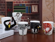 New 25 color arrival Creative gift Ceramic coffee milk tea mug 3D animal shape Hand painted animals Giraffe Cow Monkey cup(China)