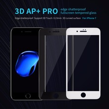 10pcs/lot Wholesale NILLKIN 3D AP+ Pro edge shatterproof fullscreen tempered glass Screen Protector For Apple iphone 7 (4.7inch)