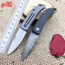 get-FORCE Damascus Folding Blade Knife,D2 Steel Folder Knife,Outdoor Tactical Pocket Knives,Camping Survival Gift Knives,EDC Too