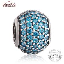 SHEALIA Teal Pave Lights Charms 925 Sterling Silver High Quality CZ Pave Ball European Beads For Jewelry Making Diy Accessories