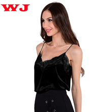 Women Pink Lace Slip Style Spaghetti Strap Shirts Velvet Camis Sexy Velour Tank Top Casual Blouse Cheap Clothes Feminino Tees