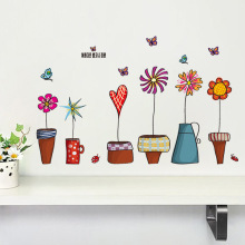 newest coloful Korea style Flower Pots Plant Flora Butterfly home girl room decal wall stickers kids room decor gifts sticker