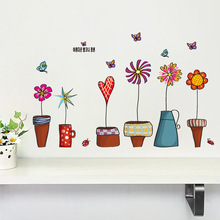 newest coloful Korea style Flower Pots Plant Flora Butterfly home girl room decal wall stickers kids room decor gifts sticker(China)