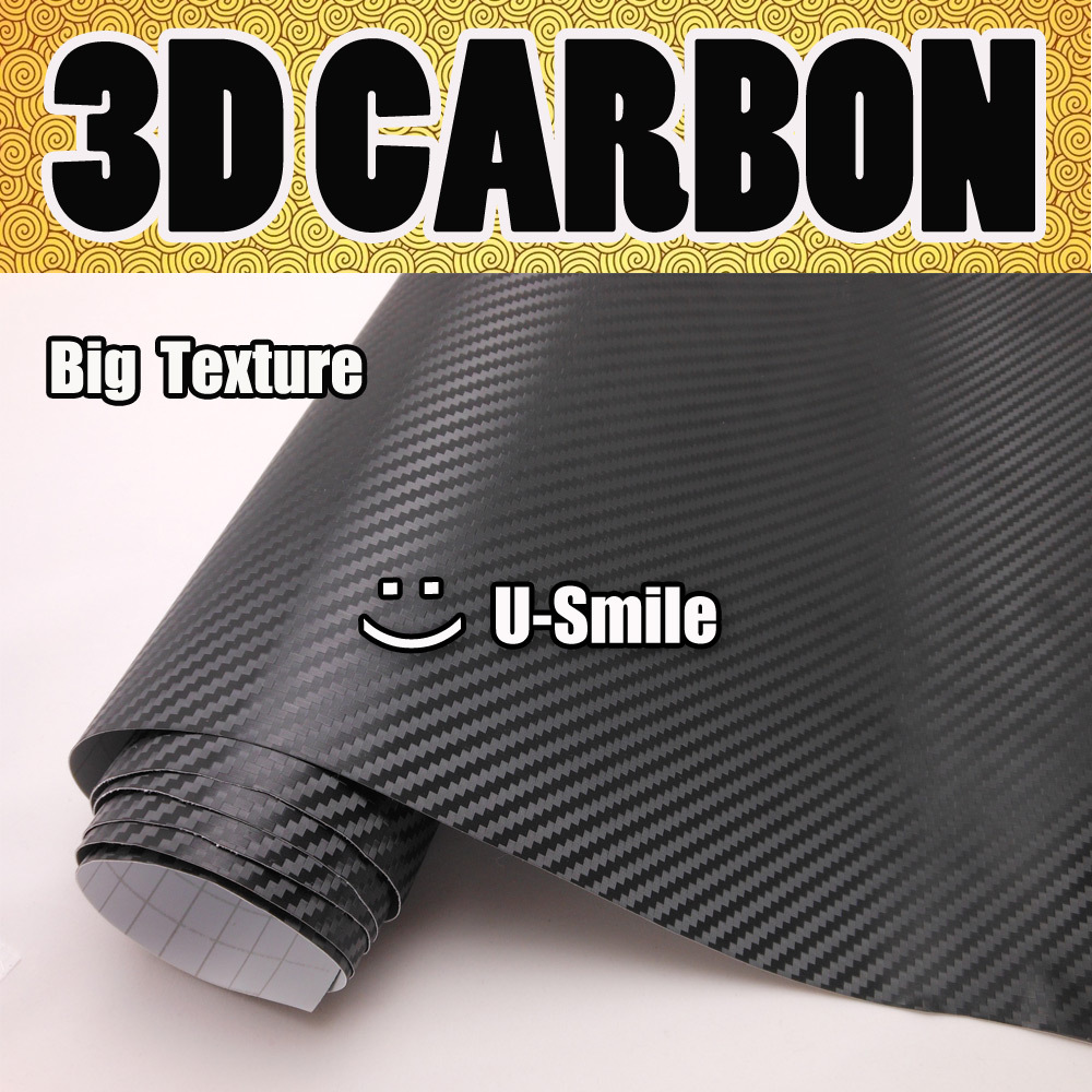 Excellent Big Texture Black 3D Carbon Fiber Sticker Roll Air Free Car Wrapping Size:1.52M x 30M/Roll (5ft x 98ft)
