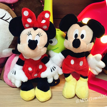 Mini Mickey Minnie Plush Toy Red Stuffed Animals 15cm 6'' Cute Pendant Keychains Key Chain Girls Toys for Children Kids Gifts