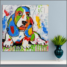 Large size Printing Oil Painting Dogs Painting Art Big ears wall art canvas prints pictures for living room and bedroom No Frame(China)