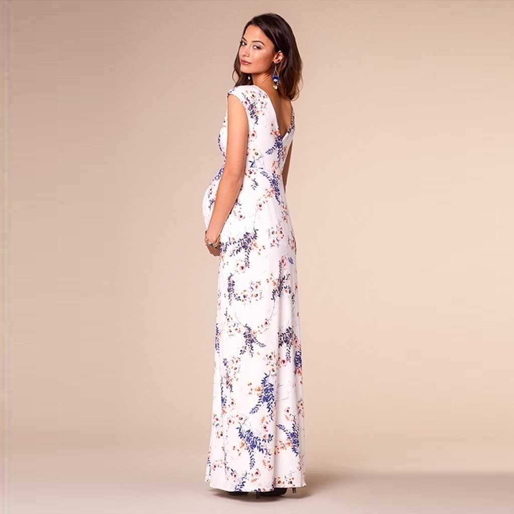 Women Maternity Pregnancy Nursing Summer Casual Beach Floral Short Sleeve Dress