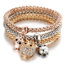 3 PCS/Set Gold Color Charm Bracelets for Women Crystal OWL Pendants Cuff Bracelet & Bangle Luxury Brand Jewelry(China)
