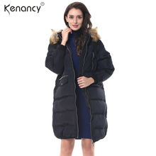 Kenancy 2017 New Winter Women Army Green Long Down Coat Korean Casual Style Warm Black Parka Zippers Hair Collar Hooded Jacket(China)